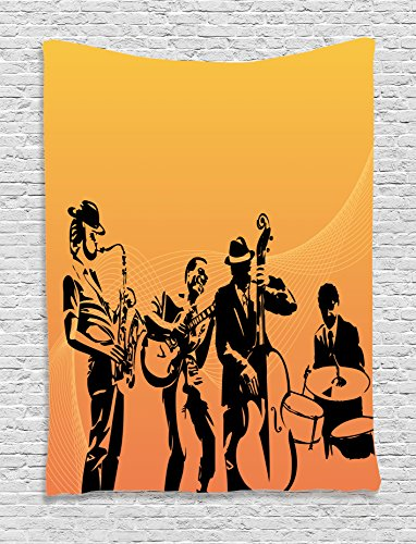 Ambesonne Jazz Music Tapestry, Silhouette of Jazz Quartet Performing on Stage Acoustic Passion Old Style Art, Wall Hanging for Bedroom Living Room Dorm, 60 W X 80 L Inches, Mustard Black]()