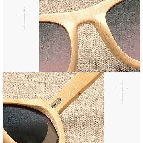 Americana de bambú los Gris y Oscuro de Vidrios Hombres de polarizados bambú Remaches Gafas de de los sol Gafas Madera Madera Purple Color TqqXApw