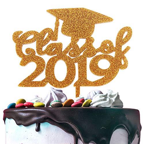 Class of 2019 Graduation Cap Gold Glitter Acrylic Congrats Grad Cake Topper Celebrate Graduation Party Decoration Supplies Gift - 6.3'' x 6.3''(Gold). ()