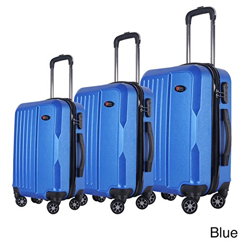 BRIO Luggage 3-piece Solid-colored ABS Hardside Spinner Luggage Set Blue Spinner, Expandable, Rolling by Coogi Luxe