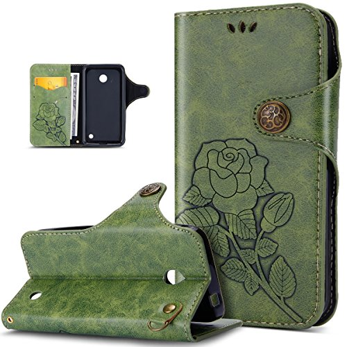 Nokia Lumia 630 Case,Nokia Lumia 635 Case,ikasus 3D Relief Embossing Rose Flower Floral Retro PU Leather Fold Flip Wallet Cover Stand Card Slots Protective Case Cover for Nokia Lumia 630 - For Phone 635 Cases Nokia Girls