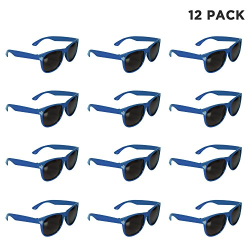 12 Pack Blue Sunglasses Bulk for Kids Adults Party Favors ()