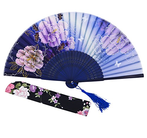 Amajiji Chinese Japanese Folding Hand Fan for women,Vintage Retro Style 8.27