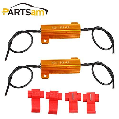 Partsam 50W 6Ohm LED Load Resistors for LED Turn Signal Lights or LED License Plate Lights (Fix Hyper Flash Pack of 2