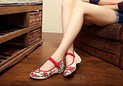 &QQ Zapatos bordados, lino, lencería, estilo étnico, zapatos femeninos, moda, cómodo, zapatos de lona beige