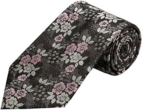 PilotMan Men's Tie Floral Jacquard Silk Tie Florets Necktie With Gift Box
