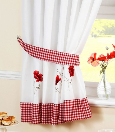 POPPY GINGHAM KITCHEN EMBROIDERED DRAPES CURTAINS RED WHITE W46