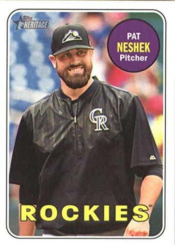 2018 Topps Heritage #200 Pat Neshek Rockies MLB Baseball Card NM-MT