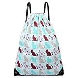 Cotton Canvas Waterproof Printed Drawstring Gym Work Backpack Rucksack (Cat Blue)