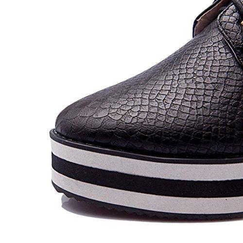 AllhqFashion Damen Rund Zehe Schnüren Blend-Materialien Rein Mittler Absatz Pumps Schuhe Schwarz