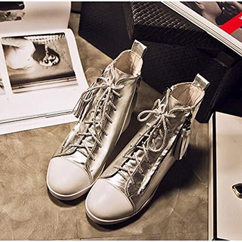 a zeppa Nero Comfort Primavera Tacco in donna Estate Sneakers Nappa Scarpe pelle Bianco Argento da ZHZNVX chiusa Punta Silver 8a7PA