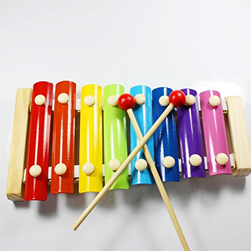 GoodPlay Children Hand Knock Guoqin Octave Wooden Toys Beat Xylophone Music, Early Education Intelligence Toys with Two Wooden Hammers, 8 Tone, Christmas Gift/Toys