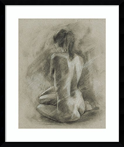 Framed Art Print 'Charcoal Figure Study II' by Ethan Harper: Outer Size 22 x 26