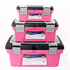 Apollo Tools 3-Piece Pink Tool Box Set includes three different sized tool boxes for versatile usage and storage purposes. Each tool box comes with a removable tray and storage compartment built into the lid for easy access and organization. ...