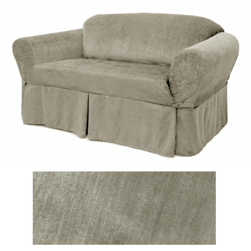 Chenille Silver Grey Furniture Slipcover Loveseat ()