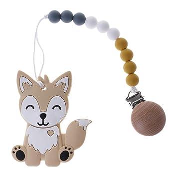 767cee56dad5 Amazon.com   TeemorShop 1 Set Pacifier Clip with Cartoon Fox Teether Baby  Nipple Chain Newborn Teething Chew Tool Cute Safe Silicone Wood Beads  (Yellow)   ...