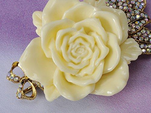 Alilang Enamel Cream Rose Flower Golden Tone Brooch Pin Aurora Borealis Crystal Rhinestone Pendant