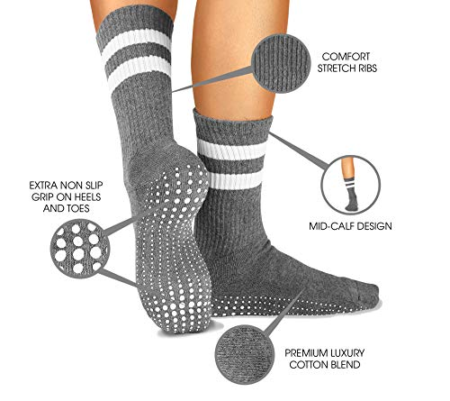 LA Active Grip Socks - 3 Pairs - Yoga Pilates Barre Ballet Non Slip Crew Hospital Socks (Jogger Grey x 3)