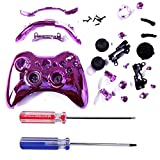 HDE Xbox 360 Wireless Controller Shell Buttons Thumbsticks Torx Screwdriver Replacement Case Cover and Tool Kit - Chrome Pink