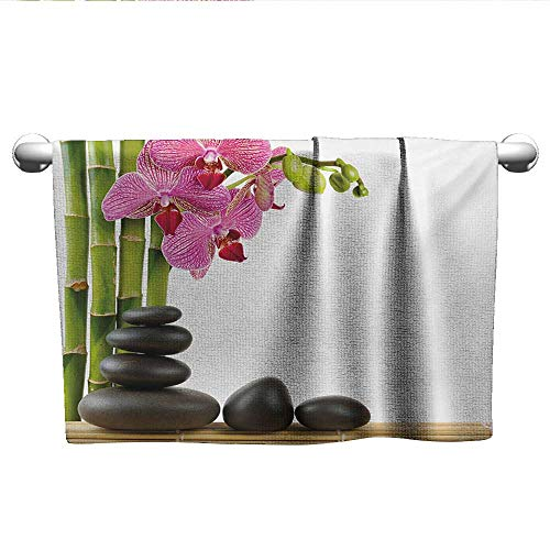 - alisoso Spa,Kids Bath Towels Beautiful Pink Orchid with Bamboos and Black Hot Stone Massage Image Print Bathroom Hand Towels Pink Green and Black W 24