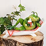 Widdop Hand Painted Solid Resin Frog on Sun Lounger Figurine