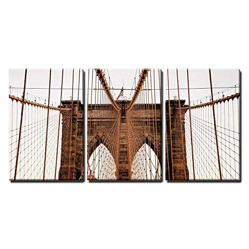wall26 - 3 Piece Canvas Wall Art - Brooklyn Bridge, New York, USA - Modern Home Decor Stretched and Framed Ready to Hang - 16