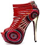Littleboutique Fashion Magazine Show Stiletto Sandals Nigh Club Strap Pumps Dress Platforms Prom Pumps red 14cm 7