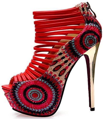 Littleboutique Fashion Stiletto Sandals Heels Nigh Club Strap Pumps Dress Platforms Prom Pumps Shoes Red14 8