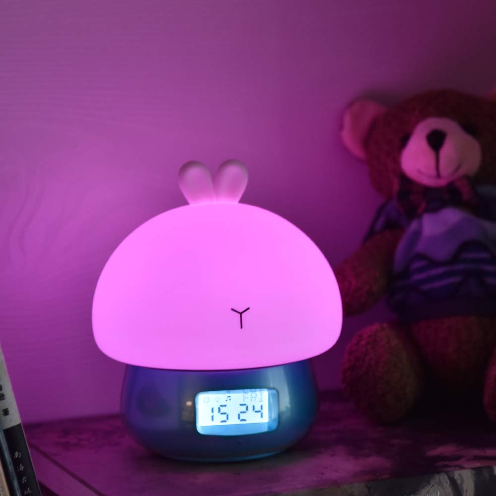 Children Blue Toddlers or Nursery Silicone Led Nightlight Rechargeable Alarm Clock Sensitive Remote Control Cute Animal Desk Lamp Bedroom Lamp for Baby