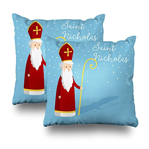 KJONG Saint Nicholas and Pastoral Falling Snow Zippered Pillow Cover,18 x 18 inch Square Decorative Throw Pillow Case Fashion Style Cushion Covers(Two Sides Print)]()