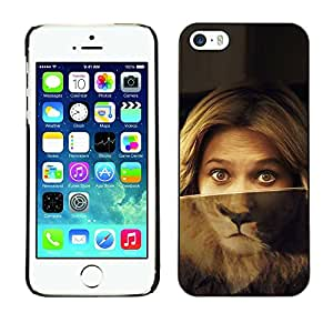Caucho caso de Shell duro de la cubierta de accesorios de protección BY RAYDREAMMM - Apple iPhone 5 / 5S - Portrait Woman Lion Eyes Green Blonde