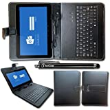 "iTechCover® Dell Venue 8 / Dell Venue 8 Pro 8"" / 8 Inch / Universal 7-8 Inch Black Keyboard Case Leather Folio Stand Case Cover Pouch With Adjustable Multi Angle Stand & Capacitive Touch Screen Stylus Pen"