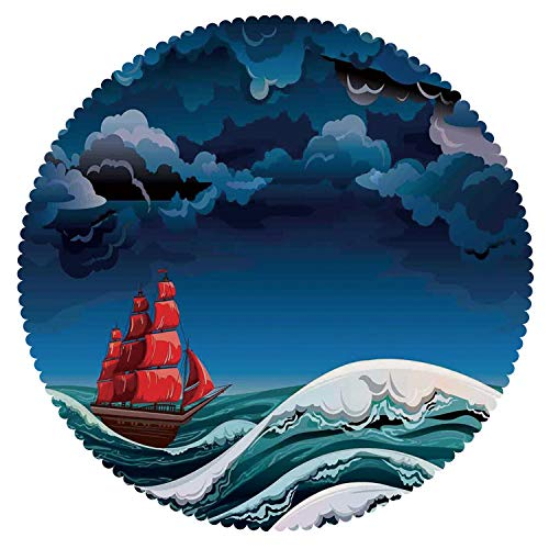 Round Tablecloth [ Sailboat Nautical Decor,Vintage Vessel Sailing in Stormy Weather at Dark Night Majestic Wave Print,Red Blue White ] Home Accessories Set -