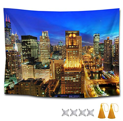 Gifts Lion Mountain Gorgeous (TERPASTRY Extra Large Tapestry Wall Hanging USA Chicago Skyline Night View Wall Tapestry Bohemian Mandala Hippie Tapestry Bedroom Living Room Dorm 50x60 Inch)