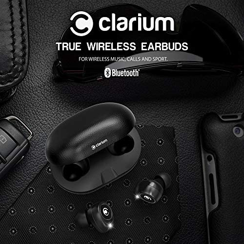 Clarium True Wireless Earbuds Bluetooth 5.0 Headphone (Charging Case Included) IPX5 TWS Premium Sound in-Ear Headphones with Microphone Engineered for The Best Calls and Music Experience,Sports