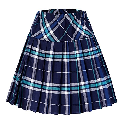 Urban CoCo Women's Elastic Waist Tartan Pleated School Skirt (XX-Large, Series 3 Blue)