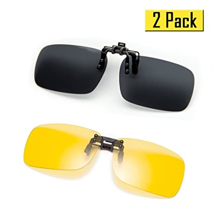 a71331af817f Cyxus  2 Pack  Polarized Lenses Classic Clip-On Sunglasses