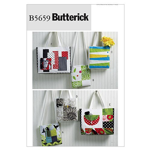 Butterick Patterns B5659 Totes and Bags, All Sizes