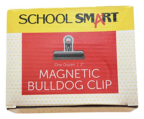 School Smart Rust Resistant Magnetic Clip, 2 in, Steel, Nickel Plated, Pack of 12