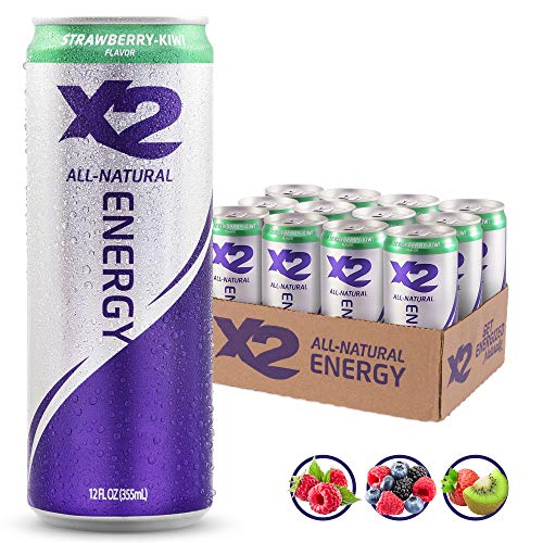 (X2 All Natural Healthy Energy Drink: Great Tasting Non-Carbonated Energy Beverage with No Crash or Jitters - Less Sugar, Lower Calories - No Artificial Ingredients - Strawberry Kiwi - Pack of 12)