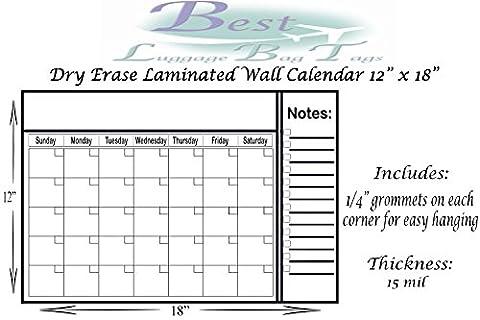 Dry Erase & Wet Erase Calendar - Laminated Wall Calendar - Erase and Re-Use (12