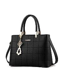 SUNROLAN Women's Top Handle Satchel Handbags Shoulder Bag Messenger Tote Bag Purse PU Leather