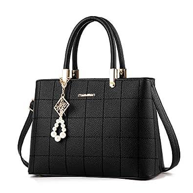 SUNROLAN Women's Top Handle Satchel Handbags Shoulder Bag Messenger Tote Bag Purse PU Leather (Black)