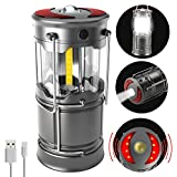 Fubosi Rechargeable Camping Lantern Flashlight,SOS Mode Multi-Function COB LED Light Collapsible,Detachable Portable Lantern with Magnetic Base for Fishing,Emergency,Hurricane,Power Outrage