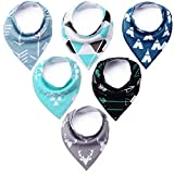 KiddyByte Premium Baby Bibs - Cute Designs for Boys, Super Drool Absorbent 100% Organic Cotton, 6-Pack Gift Set