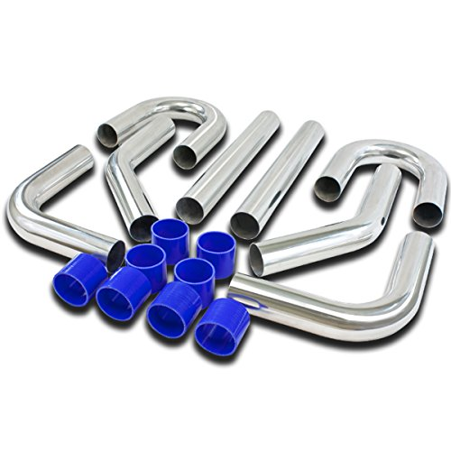 (Universal 3 inches 8pcs Silver FMIC Front Mount Intercooler Piping+Silicone Hose+Clamps Kit)