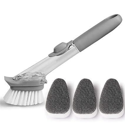 Cepillo para lavavajillas, mango largo cepillo antiadherente cepillo para platos dispensador de jabón antibacterial fregadero