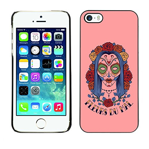 Stuss Case Hard Protective Case Cover for Apple iPhone 5 / 5S - Fleur Du Mal - Woman Sugar Skull