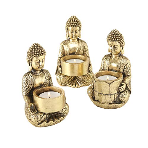 WHW Whole House Worlds Baby Buddha Tea Light Holders, Set of 3, Gold, Hand Rubbed Artisan Gilt Finish, Black Patina, Cast Poly Resin, 5 1/2 Inches Tall