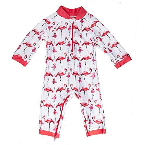 Honeysuckle Swim Company Baby Girl Swimsuit - Certified UPF 50+ - Easy Inseam Diaper Zipper (12-18, Fabulous Flamingo)